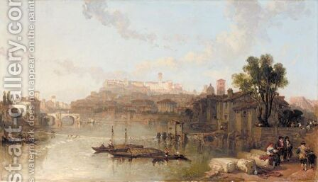 A View Of The Palace Of The Caesars, Rome, From The River Tiber by David Roberts - Reproduction Oil Painting