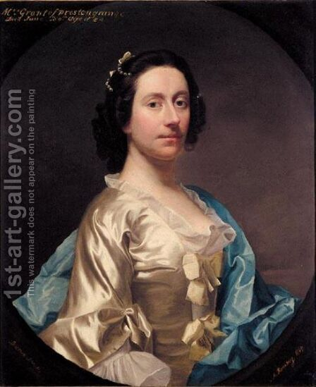 Portrait Of Grizel Miller, Mrs William Grant, Later Lady Prestongrange (1708-1792) by Allan Ramsay - Reproduction Oil Painting