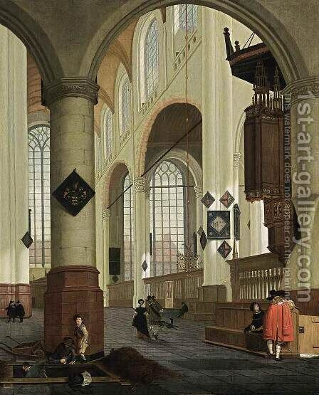 Interior of the Oude Kerk in Delft (1) by Cornelis De Man - Reproduction Oil Painting