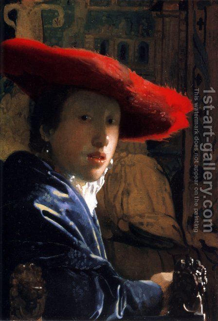 Girl With A Red Hat by Jan Vermeer Van Delft - Reproduction Oil Painting