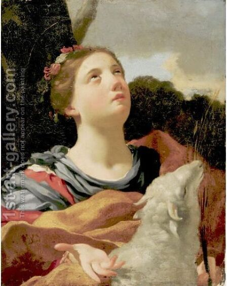 St. Agnes With The Lamb by (after) Louis Dorigny - Reproduction Oil Painting