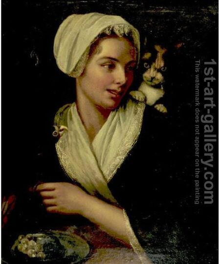 Girl With Cat And Parrot by (after) Jan Miense Molenaer - Reproduction Oil Painting
