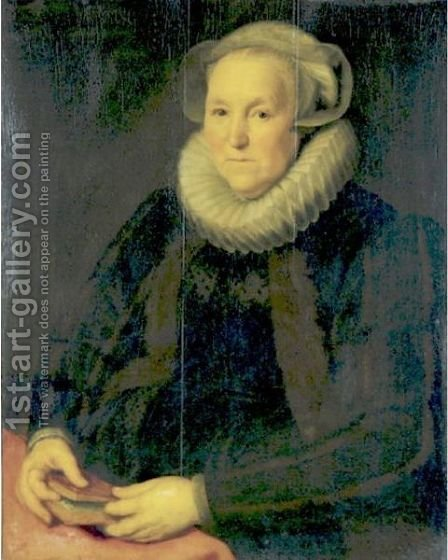 Portrait Of An Old Lady Holding A Book by (after) Paulus Moreelse - Reproduction Oil Painting