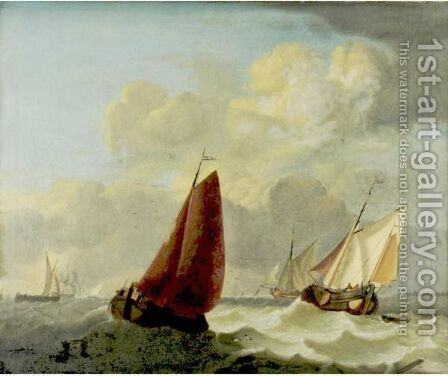 Ships At Anchor In A Harbor by (after) Willem Van De, The Younger Velde - Reproduction Oil Painting