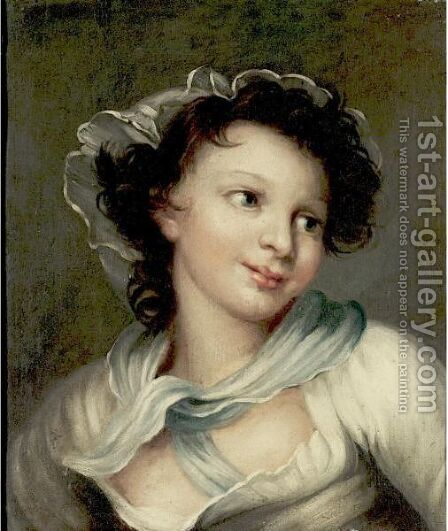 Portrait Of A Young Woman by (after) Fragonard, Jean-Honore - Reproduction Oil Painting