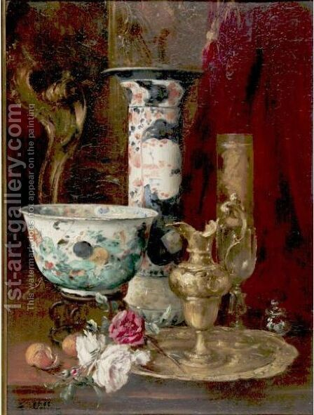 Still Life With Flowers And China by Antoine Vollon - Reproduction Oil Painting
