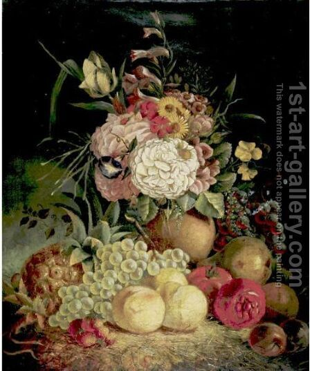 Still Life With Flowers And Fruit by Continental School - Reproduction Oil Painting