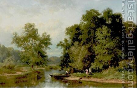 A Walk Along The Stream by (after) James Randell - Reproduction Oil Painting