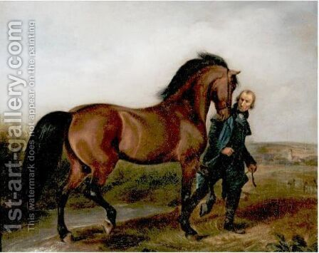 The Racehorse Mars by (after) Albrecht Adam - Reproduction Oil Painting