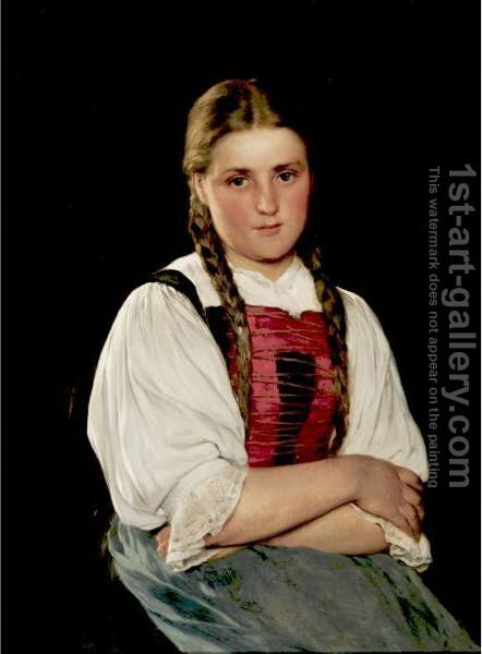 Portrait Of A Young Girl With Braids by Hugo Kauffmann - Reproduction Oil Painting