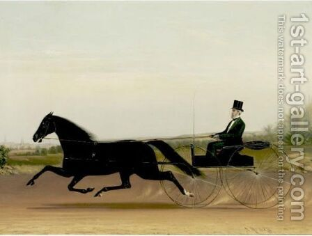 A Trotter And Sulky by James J. Mcauliffe - Reproduction Oil Painting