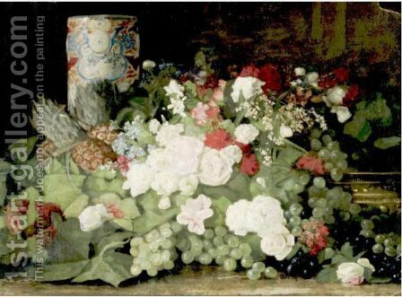 Still Life With Flowers, Grapes And Vase by Du Bois Fenelon Hasbrouck - Reproduction Oil Painting