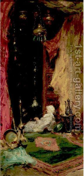 Orientalist Interior by Addison Thomas Millar - Reproduction Oil Painting