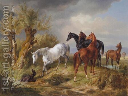Vollbluter Auf Der Weide (Thoroughbreds In A Pasture) by Adam Albrecht - Reproduction Oil Painting