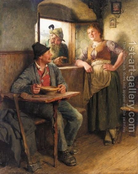 Mittagsrast In Der Stube (The Woodcutter's Repast) by Hugo Kauffmann - Reproduction Oil Painting