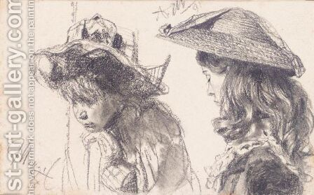 Studienblatt Zwei Madchen (A Study Of Two Girls) by Adolph von Menzel - Reproduction Oil Painting