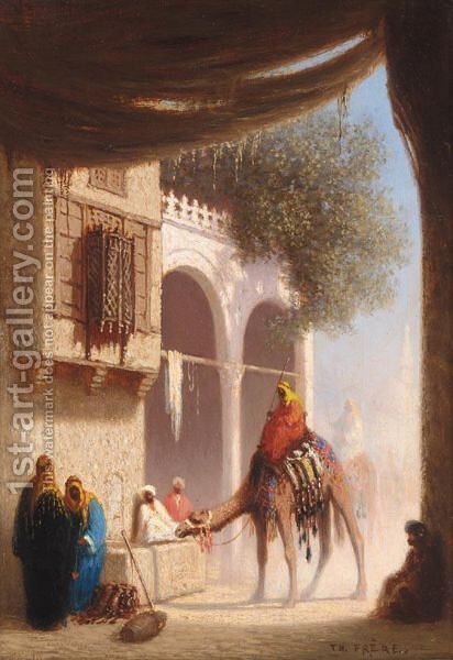 Une Fontaine Au Caire, Egypte by Charles Théodore Frère - Reproduction Oil Painting