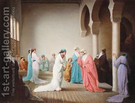 The Arrival In The Harem At Constantinople by (after) Henriette, Hon. R.I. Browne - Reproduction Oil Painting