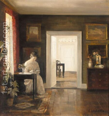 Interior Med En Kvinde Der Laser (Interior With A Woman Reading) by Carl Vilhelm Holsoe - Reproduction Oil Painting