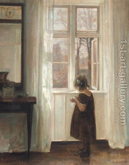 Inga Ved Vinduet (Inge By The Window) by Carl Vilhelm Holsoe - Reproduction Oil Painting