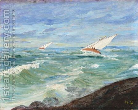 Kaksi Purjevenetta (Two Sailboats) by Hugo Simberg - Reproduction Oil Painting