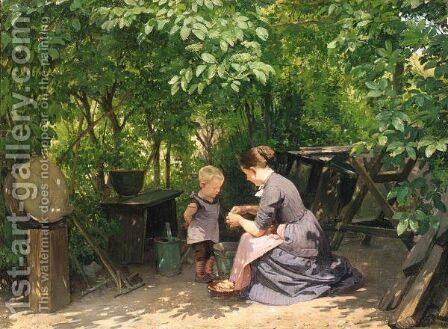 I Haven (In The Garden) by Edvard Frederik Petersen - Reproduction Oil Painting