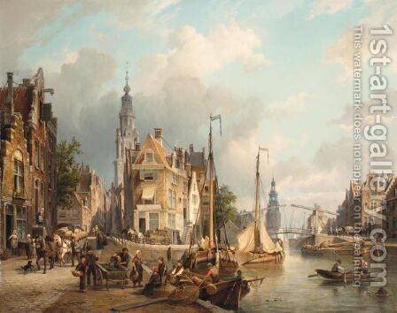 A View Of The Oudeschans With The Zuiderkerk And The Montelbaanstoren In The Distance, Amsterdam by Cornelis Christiaan Dommelshuizen - Reproduction Oil Painting