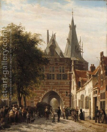 The Cellebroederspoort, Kampen by Cornelis Springer - Reproduction Oil Painting