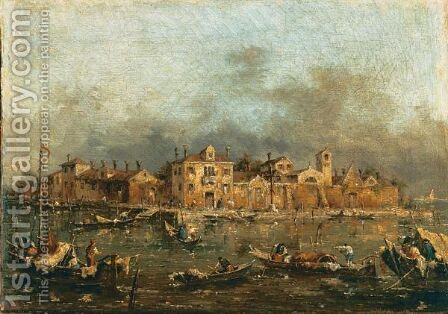 Veduta Della Laguna Veneziana by (after) Francesco Guardi - Reproduction Oil Painting