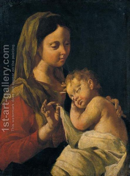 Madonna Col Bambino by (after)  Francesco Cappella - Reproduction Oil Painting