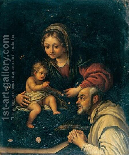 Madonna Col Bambino E San Romualdo by (after) Alessandro Tiarini - Reproduction Oil Painting