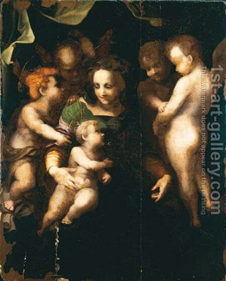 Madonna Col Bambino, San Giovannino E Tre Angeli by Andrea Del Sarto - Reproduction Oil Painting