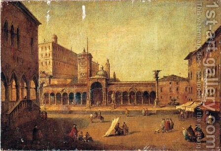 Veduta Di Piazza Della Liberta' A Udine by (after) Francesco Guardi - Reproduction Oil Painting