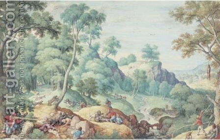 Extensive Landscape With A Bear Hunt by Hans Bol - Reproduction Oil Painting