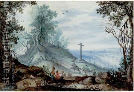 Wooded Landscape With Travellers by (after) Jan The Elder Brueghel - Reproduction Oil Painting
