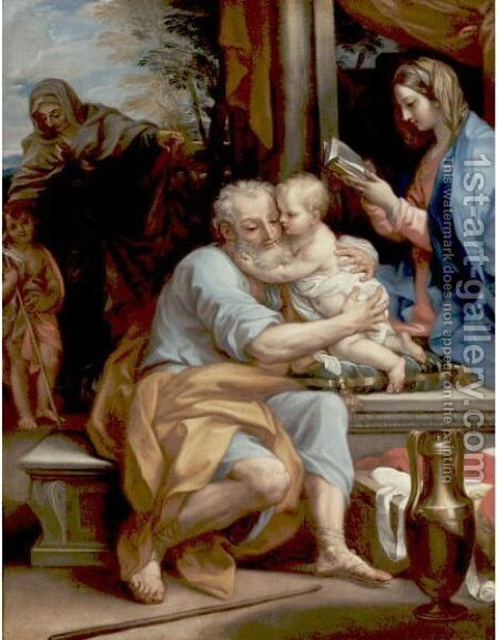 Saint Joseph Embracing The Infant Christ, The Virgin, The Infant Saint John And Saint Elizabeth Beyond by (after) Bartolomeo Giuseppe Chiari - Reproduction Oil Painting