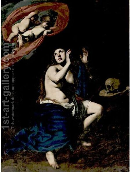 Mary Magdalen In Penitence by Massimo Stanzione - Reproduction Oil Painting