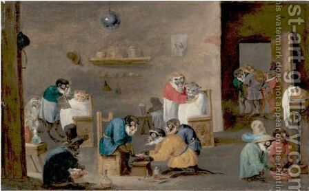 Monkey Barber Shop by (after)  David The Younger Teniers - Reproduction Oil Painting