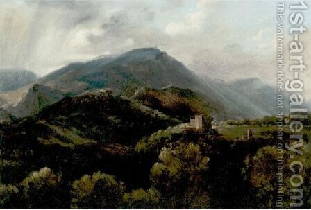 View Of The Mountains Near Tivoli by Auguste Jean-Baptiste Vinchon - Reproduction Oil Painting