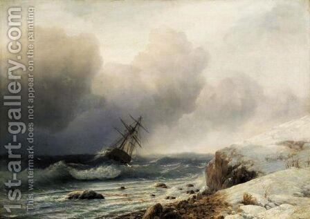 Shipwreck By A Snowy Shore by (after) Ivan Konstantinovich Aivazovsky - Reproduction Oil Painting