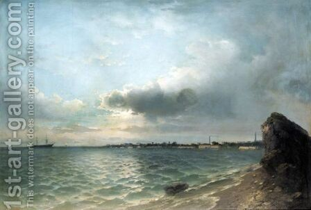 Clouds Gathering Over The Harbour by (after) Ivan Konstantinovich Aivazovsky - Reproduction Oil Painting