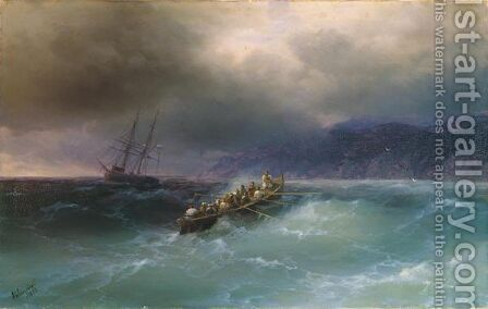 Storm Over The Black Sea by Ivan Konstantinovich Aivazovsky - Reproduction Oil Painting