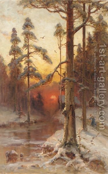 Sunset In The Winter Forest by Iulii Iul'evich (Julius) Klever - Reproduction Oil Painting