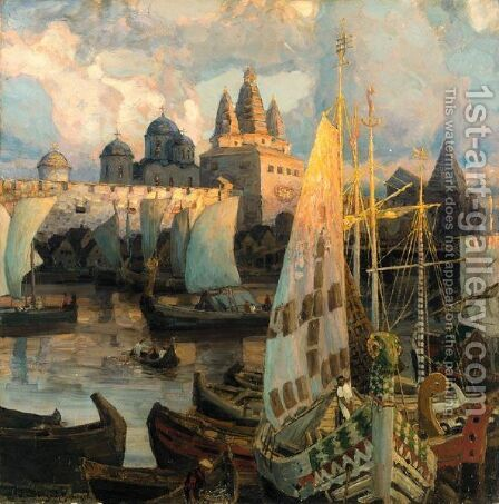 The Harbour At Novgorod by Apollinari Mikhailovich Vasnetsov - Reproduction Oil Painting