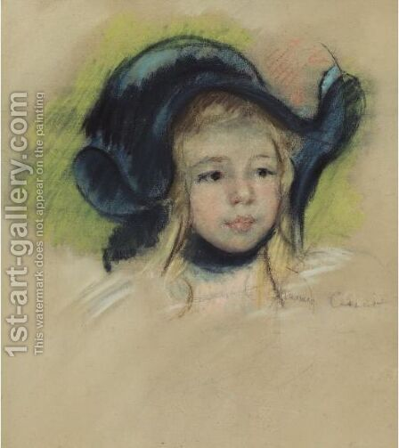 Head Of Simone In A Green Bonnet With Wavy Brim by Mary Cassatt - Reproduction Oil Painting