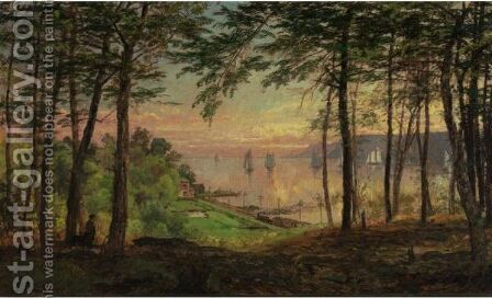 Hudson River From Dudley's Grove by Jasper Francis Cropsey - Reproduction Oil Painting
