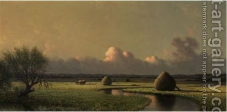 Sunny Day On The Marsh (Newburyport Meadows) by Martin Johnson Heade - Reproduction Oil Painting