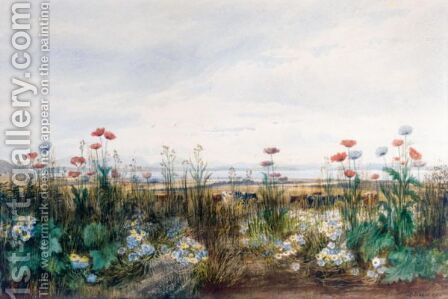 A Bank Of Wild Flowers With Cattle Grazing, A Coastal Town Beyond by Andrew Nicholl - Reproduction Oil Painting