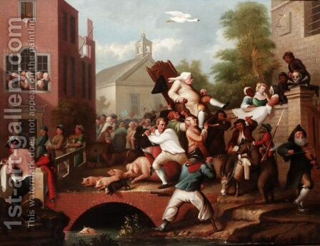 The Election Chairing The Member by (after) William Hogarth - Reproduction Oil Painting