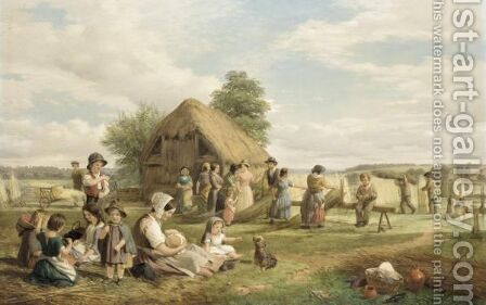 The Reed Gatherers by Charles Richards Havell - Reproduction Oil Painting
